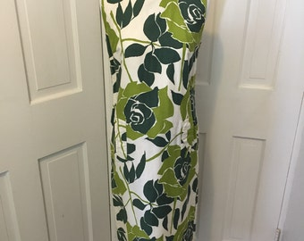 60's green flowered Hawaiian shift