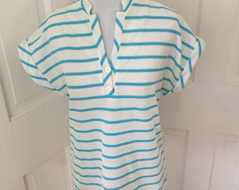 70's white and blue striped guazy tunic