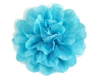 """Clearance 2 Aqua Chiffon and Tulle Flower - 4.5"""" - Crinkle Flowers"""