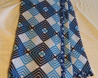 "Hand Crafted Blue Chevron Fleece Blanket 45"" X 64""  NEW"