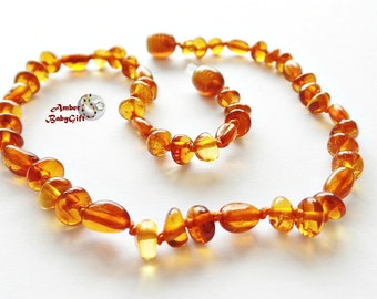 Baltic Amber Teething Necklace for Babies, Children and Adult - Cognac Amber Beads - Screw or Safety clasp - Choose Your Length, K-29