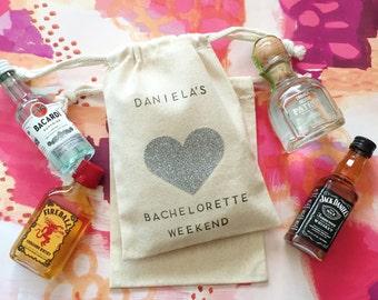 Glitter heart bag 5x7 -w/custom top&bottom-Hangover Kit bag-Bachelorette Party Favor-Wedding Favor-Hangover Kits-Party Bags-Wedding Hangover