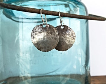 Hand hammered sterling silver earrings