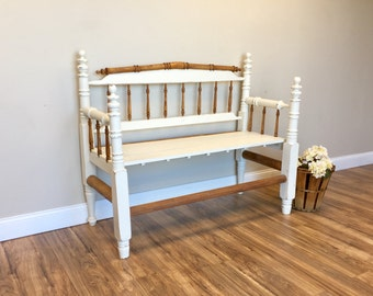 Porch Bench - Entry Way Bench - Rustic Bench - Painted Distressed Furniture - Country Chic Furniture - Unique Furniture