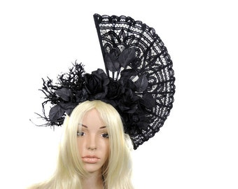 Goth fantasy headdress heapdiece branches lace fan opulent victorian black roses cosplay photo shoot gothic