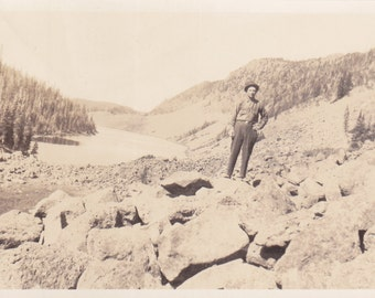Antique Snapshot Photo of Rough Miner or Cowboy up in The Mountains Beautiful Background  by Joseph E Chopp Perry Oklahoma