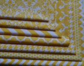 Yellow and White Fabric Bundle/Quatrefoil, Houndstooth, Chevron/Cotton Sewing Material/Quilting, Clothing, Craft/7 Fat Quarters
