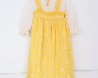 Vintage 70s Little Girls Dress, Girls Dress, Girls Vintage Dress, Girls Yellow Daisy Dress, Girls Prairie Dress, Girls Maxi Dress