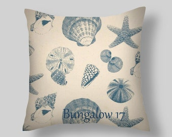 DECORATIVE THROW Pillows  Blue Throw Pillow Cover  Blue pillows  Accent Pillows All sizes Shells  Beach Cottage