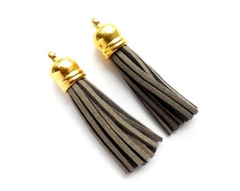 2 Grey Tassel Charm/Pendants With Gold Top - 22-35-15
