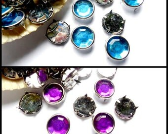 25 Blue Or Purple Rhinestone Jewel Leather Craft Studs - 23-24/25
