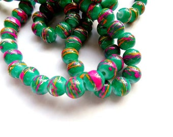 50 Green Drawbench Glass Beads