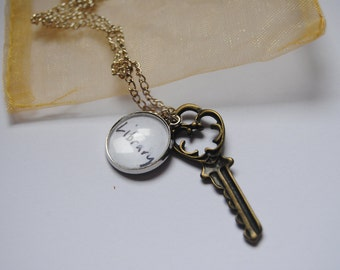 Once Upon a Time OUAT Belle Rumbelle Rumpelstiltskin Library Key Necklace Cosplay