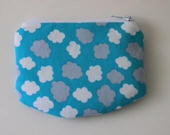 Little Zipper pouch, coin purse Clouds
