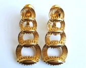 Vintage MONET Clip On Earrings, 1960s Estate, Signed, Gold Tone Paddle Back, Mid-Century Modern Long Earrings Link