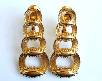 Vintage MONET Clip On Earrings, 1960s Estate, Signed, Gold Tone Paddle Back, Mid-Century Modern Long Earrings Link