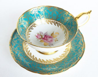 Vintage Tea Cup Aqua Blue Gold ~Rose ~ Made in England~ Cup & Saucer~ AYNSLEY  29