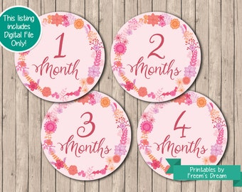 Printable Floral Monthly Bodysuit Stickers - Baby Shower Gift - Girl Month Stickers - Baby Milestone Stickers - Just Born -  1 to 12 Months