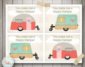 "Valentines Day Flat Cards ""You make me a Happy Camper"" (CT12AOWD) Retro Camper Camping Valentines Day Party Valentines Flat Cards"