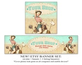 NEW LOOK Etsy banner set Pinup Western cowgirl banner avatar 1200x300 Banner 500x500 Avatar