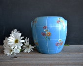 Vintage Blue Hand Painted Bean Pot ~ Stoneware Crock ~ Stoneware Cookie Jar