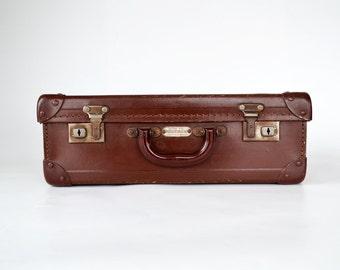 Antique British Made Pioneer Luggage | Vintage Suitcase | Lucite Handle | Vintage Travel | Brown Tweed