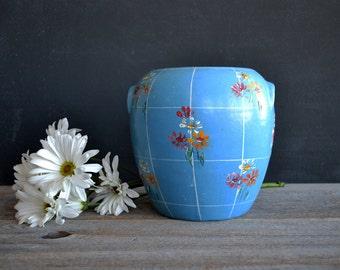 Vintage Blue Hand Painted Bean Pot ~ Stoneware Crock ~ Stoneware Cookie Jar