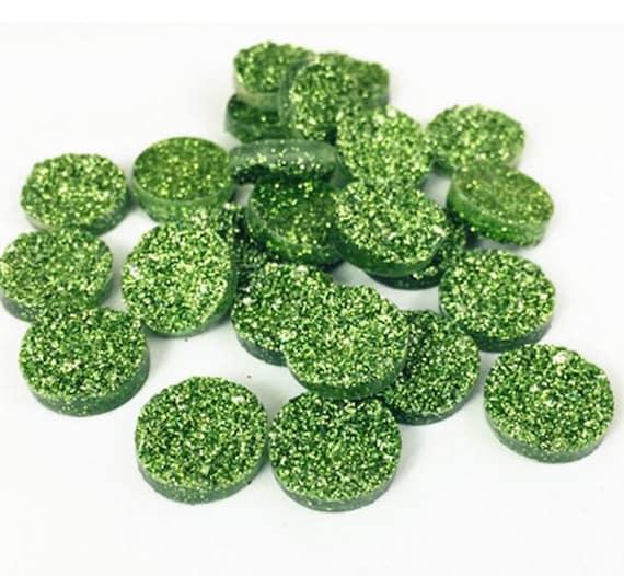 6 Pieces. Resin Flat back Cabochon 12 mm Sea Green Glitter Druzy. Craft Supplies. DIY Supplies