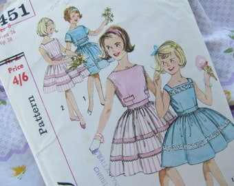 Girls Size 8 Dress and Jacket Simplicity Sewing Pattern 3451