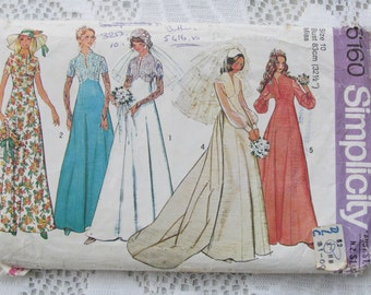 Vintage Size 32 1/2 Inch Bridal Gown - 1976 Simplicity Wedding Dress Pattern No 6160