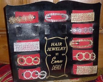 Vintage 50's 60's  hair jewellery ex  shop display Hollywood Regency Emma Dehle