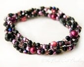 FOR TINA ONLY Beaded Stretch Bracelets and Earrings in Black Hematite Crystal Pinks Purple Mauve Faux Glass Pearl Bracelet