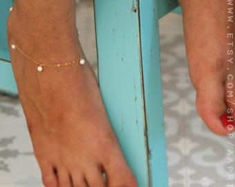 Gold Anklet / Pearl anklet / Freshwater Pearl Jewelry /summer Jewelry /Foot Jewelry / Bridesmaid gift/14k anklet /Gold Chain Ankle Bracelet