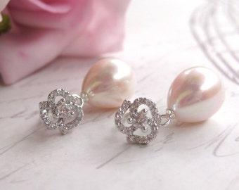 Bridal Earrings, Tear Drop Freshwater Pearl Earrings, Vintage Style Wedding Earrings, Bridal Jewellery, Small Pearl ,CZ rose earrings,