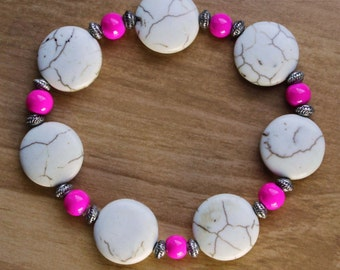 Pink, Ivory, and Silver Beaded Bracelet