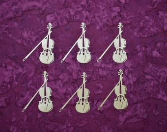 Violin Shape Wooden Cut Out Unfinished Wood Musical Instrument Crafts 6 Pieces