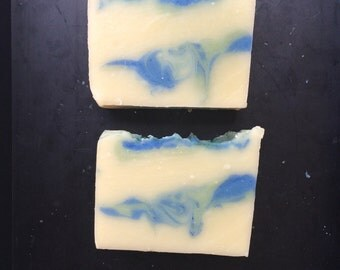 handmade soap - cold process - vegan - swirled - green - blue - fresh scent - artisan soap - Caribbean - ocean - scented - Tropical Soap