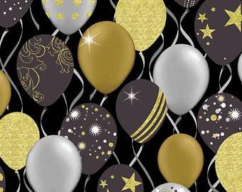 Celebration Balloons fabric black gold gray - Maria Kalinowski Kanvas Studio for Benartex - by the YARD