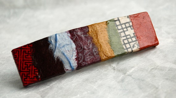 Jumbo Patchwork Hanji French Barrette Hair Pin Striped Patchwork Red Brown Bronze Sturdy Stainless Steel Barrette Handmade
