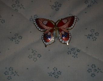 Cloisonne Butterfly Pin in Pinks and Red