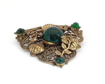 Antique Victorian Pin Brooch Gold Brass Repousse Metal Flowers Emerald Green Cabachons Nice Patina Old C Clasp