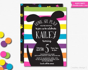 Puppy Invitation Puppy Party Invitation Printable Dog Invitation Dog Party Invite Puppy Birthday Party Digital Invitation Girls Birthday