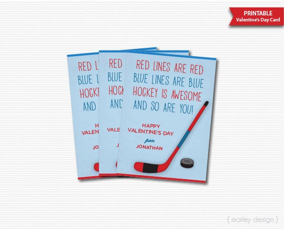 Hockey Valentines Cards Kids Valentines Hockey Cards Personalized – Hockey Valentines Day Cards
