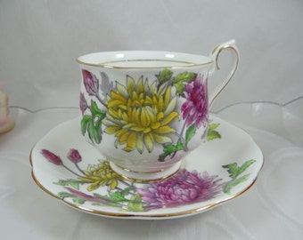1950s Vintage Hand Painted English Royal Albert Teacup and Saucer Flower of the Month - Chrysanthemum