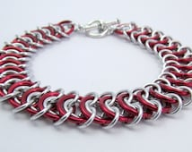 Red and Silver Bracelet - Vertebrae Weave Chainmaille Bracelet – Nickel Free Chain Bracelet for Men and Women