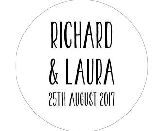 50 x PERSONALISED Wedding/Party Stickers Favours/Save The Date/Invites
