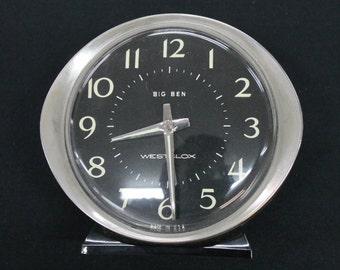 vintage Westclox Baby Ben silver & black metal alarm clock black face