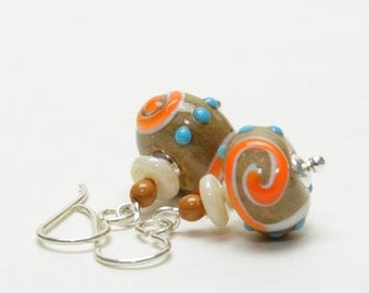 Coral and Ivory Lampwork Glass Earrings with Sterling Silver Earwires - Southwest Colors - Lampwork Jewelry SALE