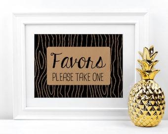 "Wedding Favors Sign | Printable Wedding Sign 5x7"" | Wedding Favor Sign Wedding Reception Sign Woodsy Wedding | NEWTON Faux Bois Woodgrain"