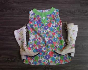 60's Mod Flower Power Twiggy Tunic Mini Dress